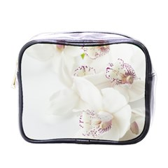 Orchids Flowers White Background Mini Toiletries Bags