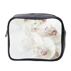 Orchids Flowers White Background Mini Toiletries Bag 2 Side