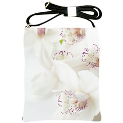 Orchids Flowers White Background Shoulder Sling Bags