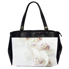 Orchids Flowers White Background Office Handbags (2 Sides)