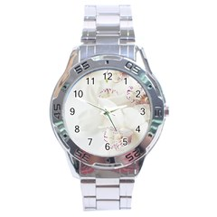 Orchids Flowers White Background Stainless Steel Analogue Watch