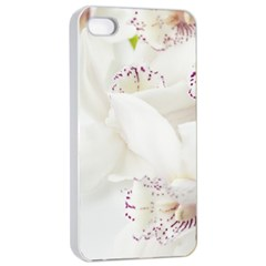 Orchids Flowers White Background Apple Iphone 4/4s Seamless Case (white)