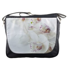 Orchids Flowers White Background Messenger Bags