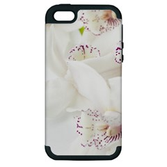Orchids Flowers White Background Apple Iphone 5 Hardshell Case (pc+silicone)