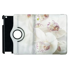 Orchids Flowers White Background Apple Ipad 2 Flip 360 Case