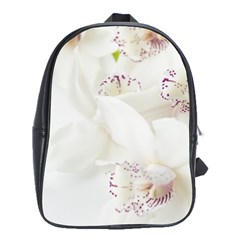 Orchids Flowers White Background School Bags (xl)