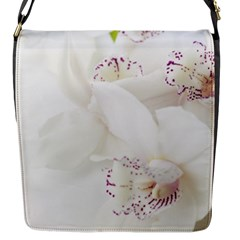 Orchids Flowers White Background Flap Messenger Bag (s)