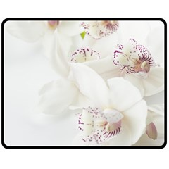 Orchids Flowers White Background Double Sided Fleece Blanket (medium)