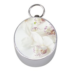 Orchids Flowers White Background Mini Silver Compasses