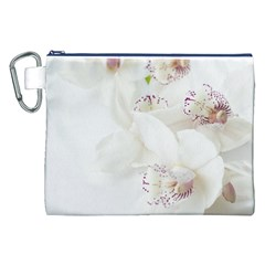 Orchids Flowers White Background Canvas Cosmetic Bag (xxl)