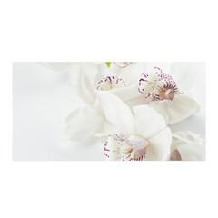 Orchids Flowers White Background Satin Wrap