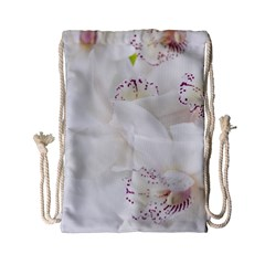 Orchids Flowers White Background Drawstring Bag (small)