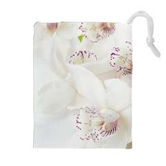 Orchids Flowers White Background Drawstring Pouches (Extra Large)