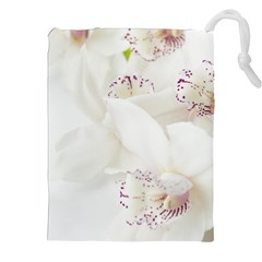 Orchids Flowers White Background Drawstring Pouches (xxl)