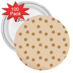 Pattern Gingerbread Star 3  Buttons (100 Pack)