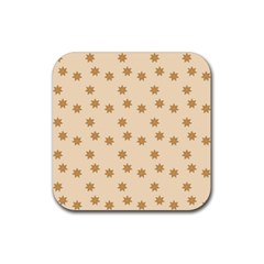 Pattern Gingerbread Star Rubber Square Coaster (4 Pack)
