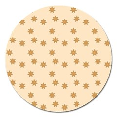 Pattern Gingerbread Star Magnet 5  (round)