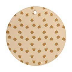 Pattern Gingerbread Star Round Ornament (two Sides)