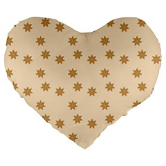 Pattern Gingerbread Star Large 19  Premium Heart Shape Cushions