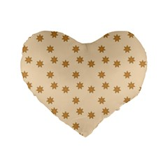 Pattern Gingerbread Star Standard 16  Premium Flano Heart Shape Cushions