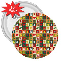 Pattern Christmas Patterns 3  Buttons (10 Pack)