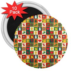 Pattern Christmas Patterns 3  Magnets (10 Pack)
