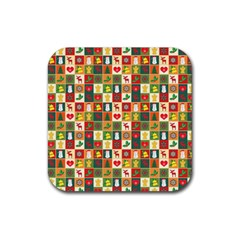 Pattern Christmas Patterns Rubber Square Coaster (4 Pack)