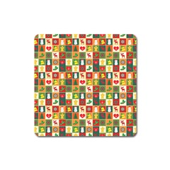 Pattern Christmas Patterns Square Magnet