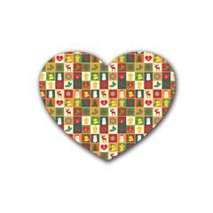 Pattern Christmas Patterns Heart Coaster (4 Pack)