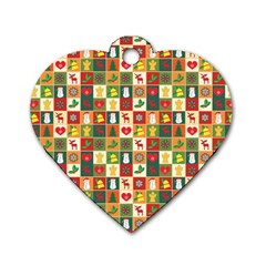 Pattern Christmas Patterns Dog Tag Heart (One Side)