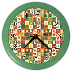 Pattern Christmas Patterns Color Wall Clocks
