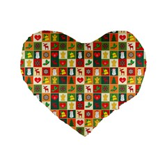 Pattern Christmas Patterns Standard 16  Premium Heart Shape Cushions