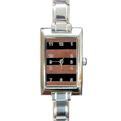Stainless Rust Texture Background Rectangle Italian Charm Watch
