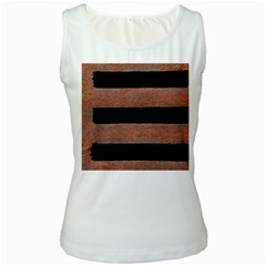Stainless Rust Texture Background Women s White Tank Top