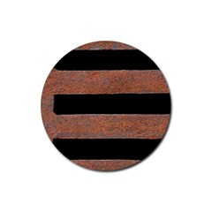Stainless Rust Texture Background Rubber Round Coaster (4 pack)