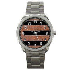 Stainless Rust Texture Background Sport Metal Watch