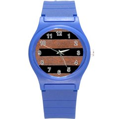 Stainless Rust Texture Background Round Plastic Sport Watch (s)
