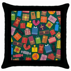 Presents Gifts Background Colorful Throw Pillow Case (black)