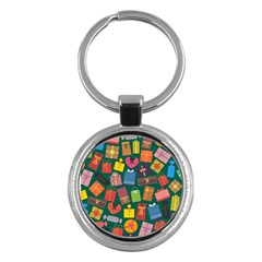 Presents Gifts Background Colorful Key Chains (Round)