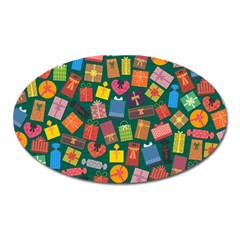 Presents Gifts Background Colorful Oval Magnet
