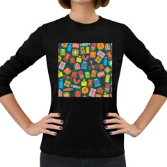 Presents Gifts Background Colorful Women s Long Sleeve Dark T Shirts