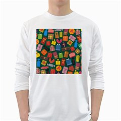 Presents Gifts Background Colorful White Long Sleeve T Shirts