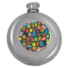Presents Gifts Background Colorful Round Hip Flask (5 Oz)