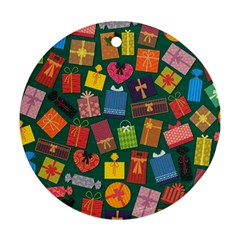 Presents Gifts Background Colorful Round Ornament (Two Sides)