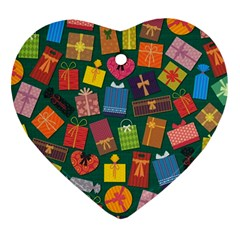 Presents Gifts Background Colorful Heart Ornament (2 Sides)