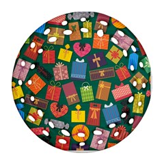 Presents Gifts Background Colorful Ornament (round Filigree)