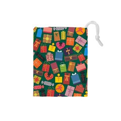 Presents Gifts Background Colorful Drawstring Pouches (small)