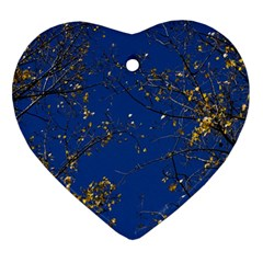 Poplar Foliage Yellow Sky Blue Ornament (heart)