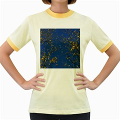 Poplar Foliage Yellow Sky Blue Women s Fitted Ringer T Shirts