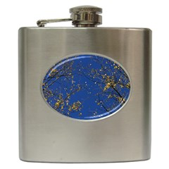 Poplar Foliage Yellow Sky Blue Hip Flask (6 oz)